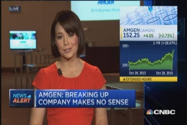 Amgen CEO: Not planning on split