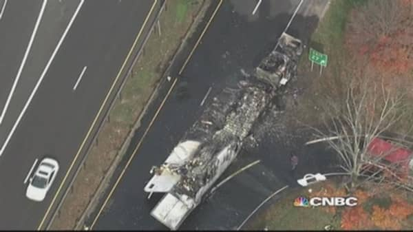 Truck loaded with butter catches fire