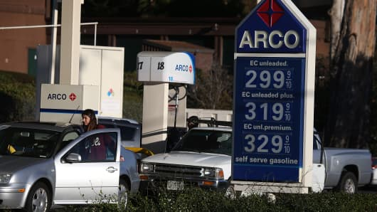 Gas prices are displayed at an Arco gas station on October 27, 2014 in Mill Valley, California.