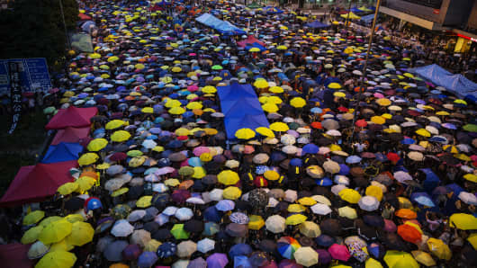 The Umbrella Revolution, which started in September 2014 saw thousands flood the streets and camp on major roadways, blocking traffic for months, to protest proposed changes to Hong Kong's electoral system.