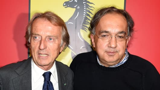 Former Ferrari CEO, Luca Cordero di Montezemolo (L) and Sergio Marchionne (R), CEO of Fiat and Chrysler.
