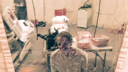 This photo provided by attorney Steven Hyman shows nurse Kaci Hickox in an isolation tent at University Hospital in Newark, N.J., where she was quarantined after flying into Newark Liberty International Airport following her work in West Africa caring for Ebola patients.