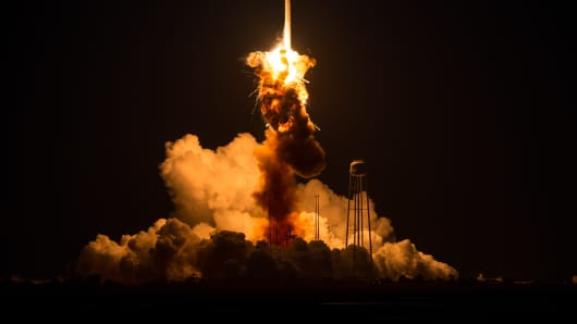The Orbital Sciences Corporation Antares rocket, with the Cygnus spacecraft onboard suffers a catastrophic anomaly moments after launch from the Mid-Atlantic Regional Spaceport Pad 0A at NASA Wallops Flight Facility on October 28, 2014 on Wallops Island, Virginia.