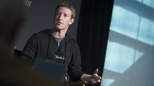 Facebook founder and CEO Mark Zuckerberg speaks during an interview at the Newseum in Washington.
