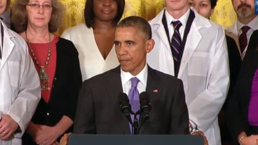 A screen image showing President Barack Obama speaking to ebola health care workers, Wednesday.
