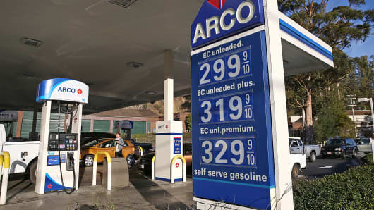 Gasoline prices are displayed at an Arco gas station in Mill Valley, Calif., Oct. 27, 2014.