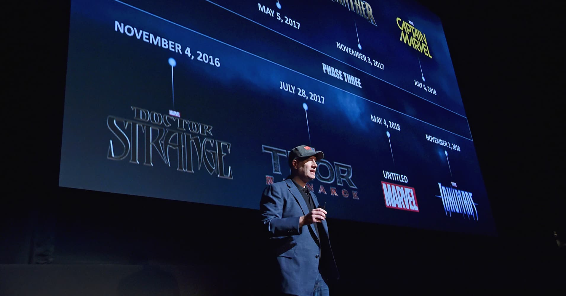 Marvel Studios president Kevin Feige speaks during a fan event at in Los Angeles, Oct. 28, 2014.