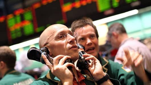 Oil traders on the floor of the New York Mercantile Exchange.