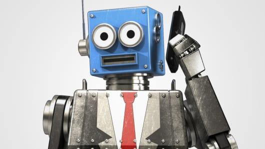 Robot on the phone, robot businessman, robot suit