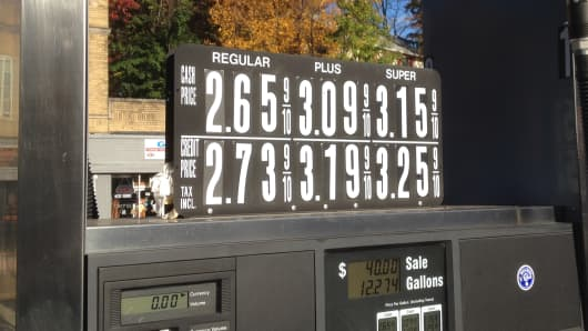 Gas prices at a station in South Orange, New Jersey, October, 2014.