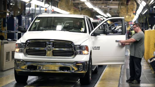 A Chrysler assembly line at the Warren Truck Assembly Plant in Warren, Michigan.