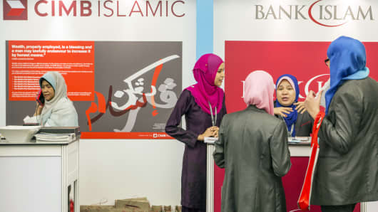 Booths at the Global Islamic Finance Forum in Kuala Lumpur, Malaysia, on Wednesday, Sept. 3, 2014.