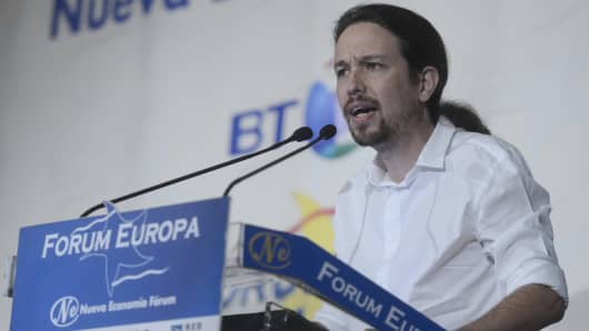 The leader of the Podemos party, Pablo Iglesias