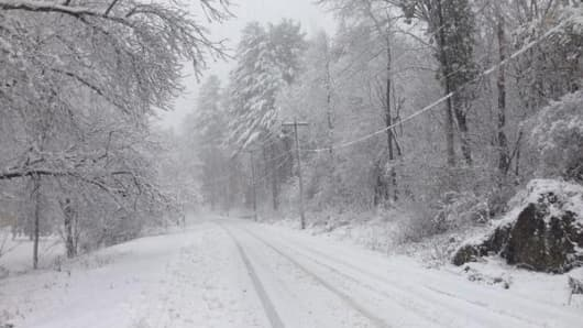 A snow storm in Bangor Maine on Nov. 2, 2014 that covered much of New England.