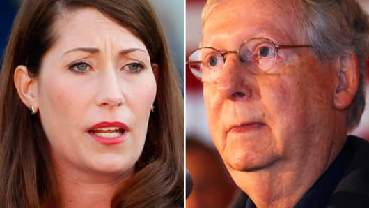 Kentucky Senate Candidates Alison Lundergan Grimes and Mitch McConnell.