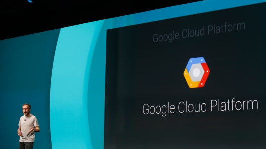 Urs Holzle, Senior Vice President for Technical Infrastructure at Google, speaks on the Google Cloud Platform during the Google I/O Developers Conference on June 25, 2014 in San Francisco.