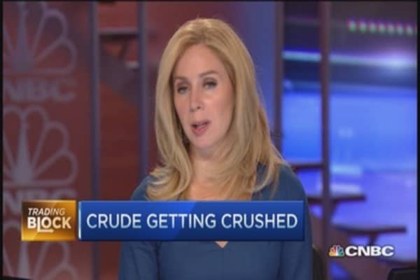 Crude skids, gold loses luster