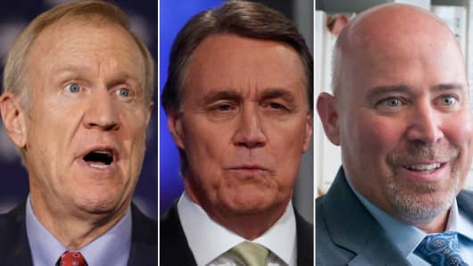Bruce Rauner (L), David Perdue (C) and Tom MacArthur (R)