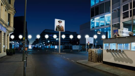 "Balloons mark the location of ""Checkpoint Charlie"" for the 25th anniversary of the fall of the Berlin Wall."