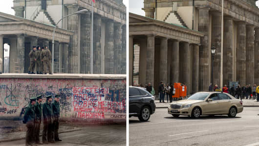 Then and now: This combo of two photos shows on (L) East and West German policemen standing near the Brandenburg Gate in Berlin on December 22, 1989 and (R) the Brandenburg Gate at the same spot on September 24, 2014.