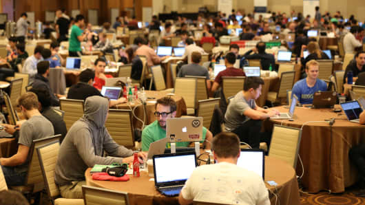 The 2014 Money20/20 Hackathon in Las Vegas where PayPal recruits for IT workers