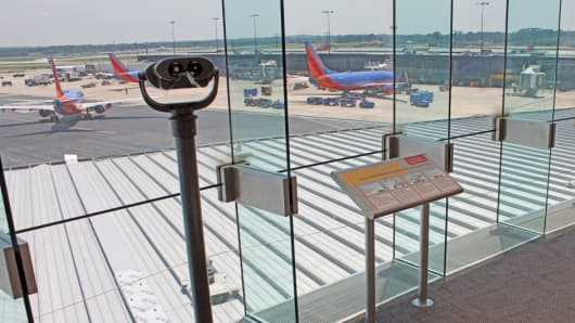 Airplanes are on view from an Observation Gallery at Baltimore/Washington International Thurgood Marshall Airport.