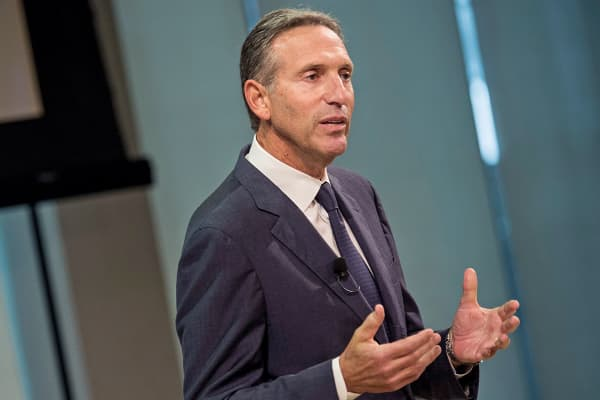 Starbucks President and CEO Howard Schultz speaks at a press conference, June 16, 2014, in New York.