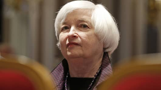 U.S. Federal Reserve Chair Janet Yellen attends a conference of central bankers hosted by the Bank of France in Paris, Nov. 7, 2014.