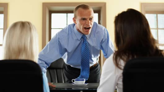 Angry boss, boss yelling, office fight, workplace tension, horrible boss