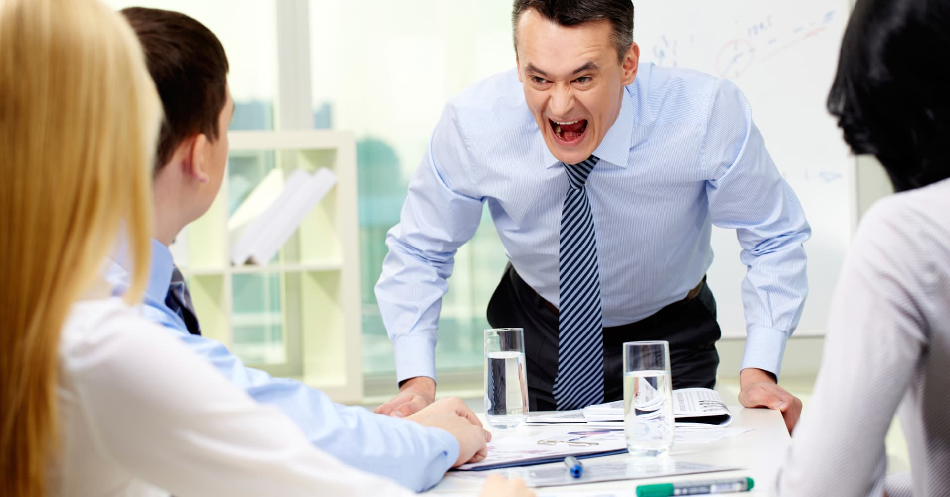 Angry boss, boss yelling, angry office