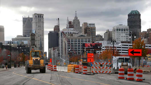 Construction on the M-1 3.3-mile light rail transit project is seen along Woodward Avenue near downtown Detroit, Michigan, November 7, 2014.