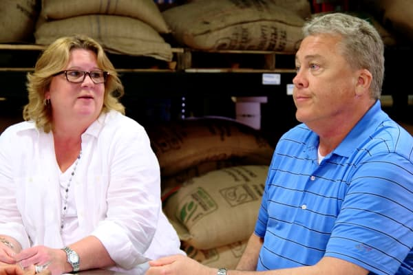 "West End Coffee co-owners Rebecca Schramm and John Brown on CNBC's ""The Profit."""