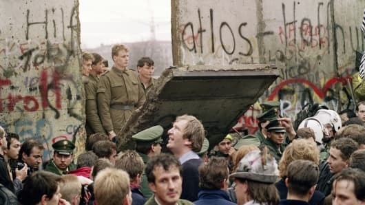 The fall of the Berlin Wall, November 1989