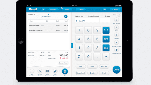 Revel payment app on tablet.