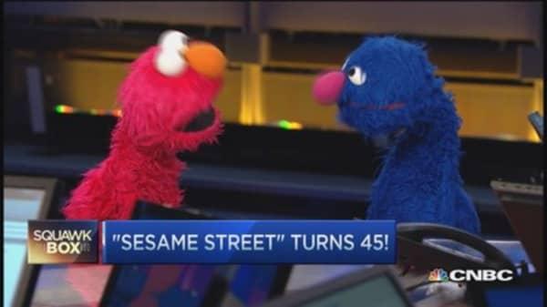 Oscar and Elmo visit 'Squawk Box'
