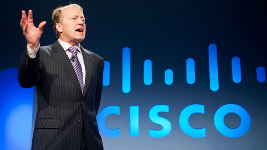Cisco CEO John Chambers speaks during the 2011 International Consumer Electronics Show (CES) in Las Vegas.