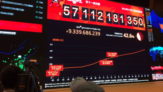 Alibaba Single's Day sale totals $9.33 Billion.