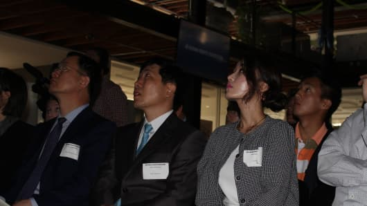 North Korean defectors (from left to right) Heung Kwang Kim, Sang Hak Park and Yeonmi Park visited San Francisco this summer.