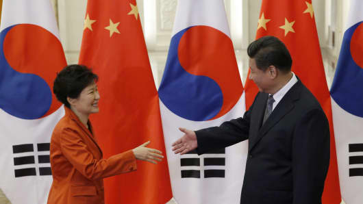 South Korean President Park Geun-hye meets with Chinese President Xi Jinping at the Great Hall of the People in Beijing, on the sidelines of the Asia Pacific Economic Cooperation (APEC) meetings.