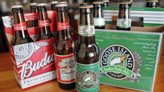 Budweiser beer and Goose Island India Pale Ale