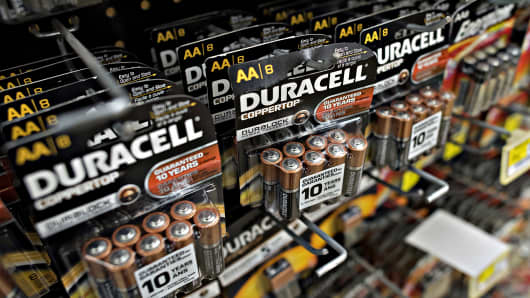 Duracell batteries hang on a display rack at a supermarket in Princeton, Ill., Nov. 13, 2014.