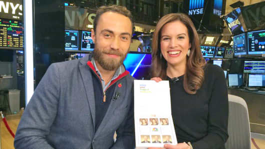 "Kelly Evans and Kate Middleton's brother James, on the set of ""Closing Bell"" with his company's custom marshmallow treats."
