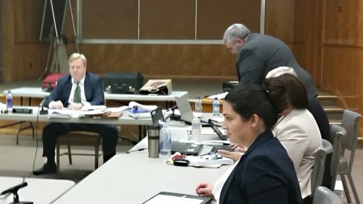 Scene from the CA Agricultural Labor Relations Board hearing in Fresno, where the Gerawan Farming case is being heard.