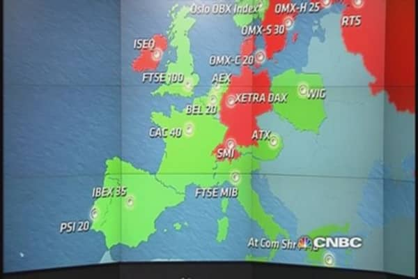 Europe closes flat to lower after GDP; Nokia tumbles
