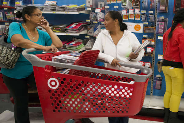 Customers at a Target store in Colma, Calif.