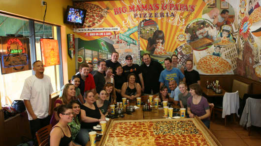 Big Mama's and Papa' s 54 inch by 54 inch pizza.