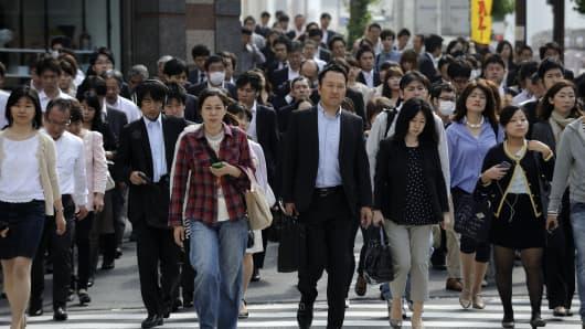Pedestrians in Tokyo, Japan