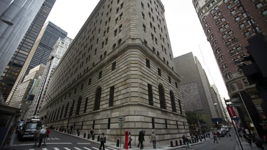 The New York Federal Reserve building in New York.