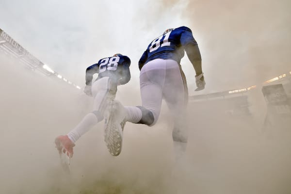 Players on the New York Giants take the field prior to playing against the San Francisco 49ers at MetLife Stadium on November 16, 2014 in East Rutherford, New Jersey.