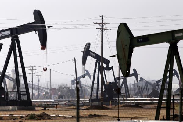 Oil jack pumps in the Kern River oil field in Bakersfield, California.